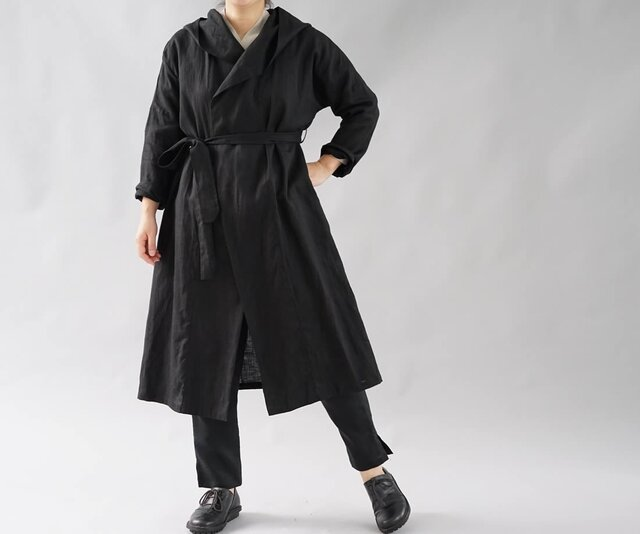 【wafu】中厚 リネン コート 羽織 ローブ ロング丈 ユニセックス UV対策/ブラック h009a-bck2の画像1枚目