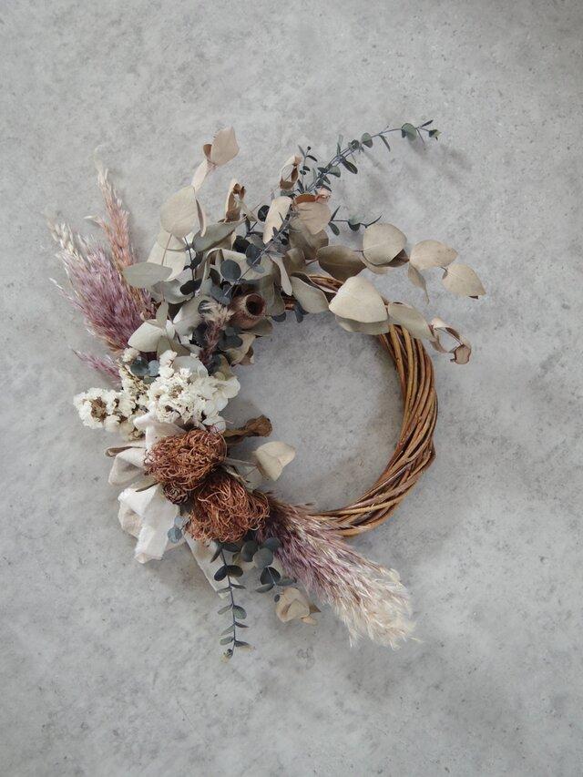 dried wreath whiteの画像1枚目