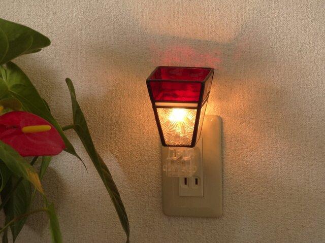 癒しのおやすみランプ・スクエアちょっとだけ和(真紅)・ステンドグラスの画像1枚目