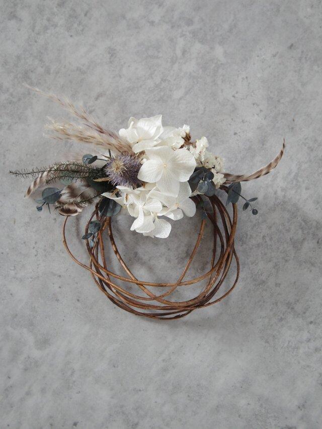 dried wreath mini whiteの画像1枚目
