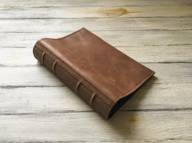 洋古書風のブック・ブックカバー/キャメル×ブラウンの画像1枚目