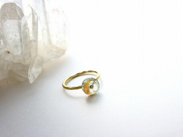 再販*Brass Point Ring*モスアクアマリン*真鍮リング*no.357の画像1枚目