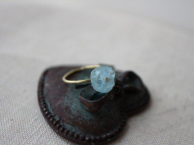 Brass Point Ring*原石*アクアマリン*真鍮リング*no.220の画像1枚目