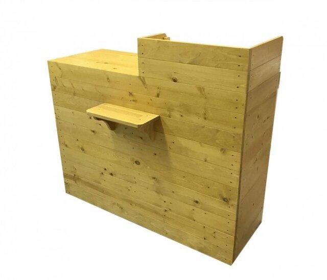 木製レジ台・カウンター_バッグ置付_幅120cm×奥行60cm×高さ108cm_ライトオーク(ニス仕上げ)_UN812LOKの画像1枚目