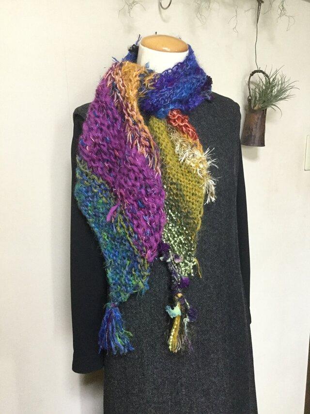 手編みマフラー 〔虹〕の画像1枚目