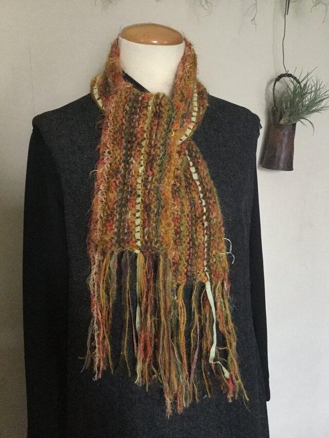 手編みマフラー・ミニ 〔からし〕の画像1枚目