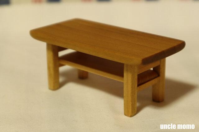 ドール用ローテーブル(色:オーク) 1/12ミニチュア家具の画像1枚目