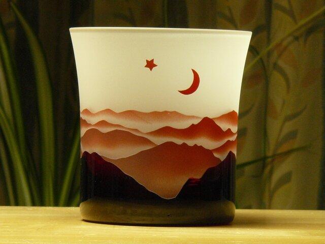 赤いやまなみロックグラス  A(1個)の画像1枚目