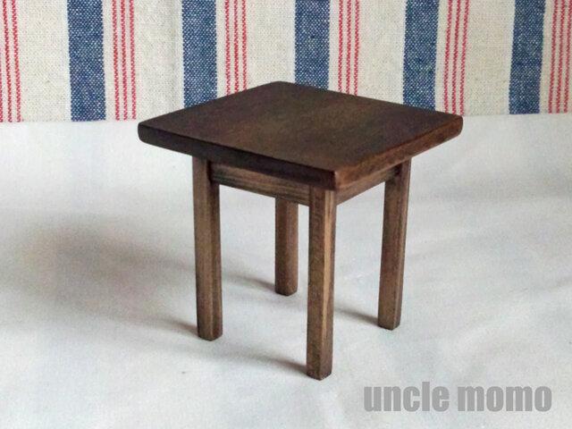 ドール用テーブル小(色:エボニー) 1/12ミニチュア家具の画像1枚目