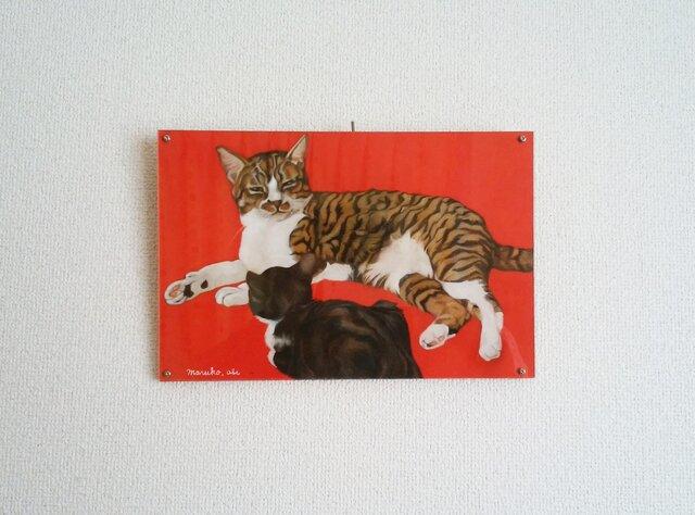 猫イラスト「マルコとちいさいハナ」原画(アクリル板付き)の画像1枚目