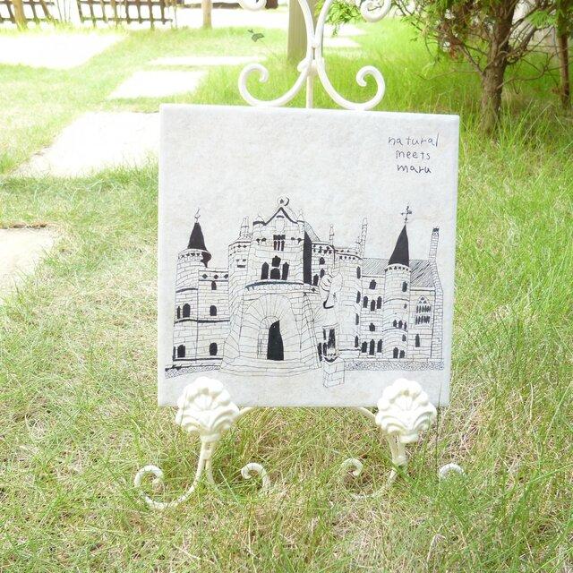 タイル彫刻 お城 オフホワイト Mサイズの画像1枚目