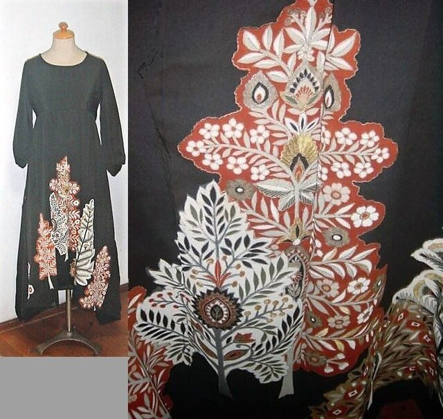 留袖リメイク♪花の咲く樹が素敵な留袖ワンピース♪裾変形♪ハンドメイド♪正絹・アンティーク着物・着物リメイクの画像1枚目