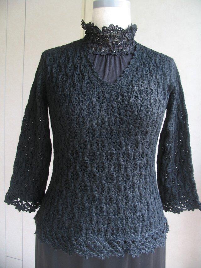 総レース模様のセーターの画像1枚目