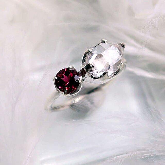 ハーキマーダイヤモンド+ピンクトルマリンSVリングの画像1枚目