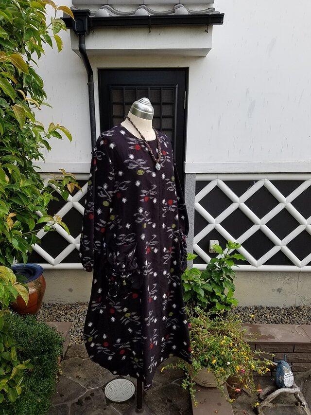 着物リメイク 手作り 久留米がすり ポケットがかわいらしい ワンピースの画像1枚目