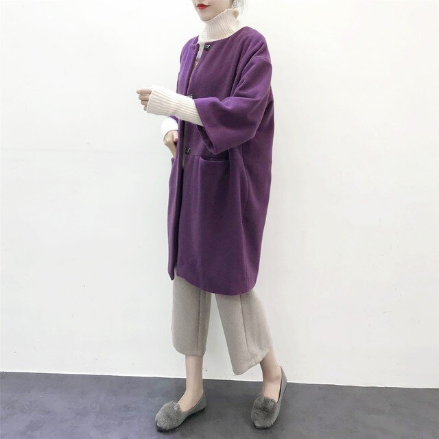 ★en-en紫ウール混紡・コクーンコート・パープル(裏地付き)の画像1枚目