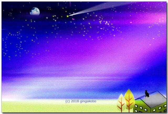 「星に魅せられて」 ほっこり癒しのイラストポストカード2枚組No.640の画像1枚目