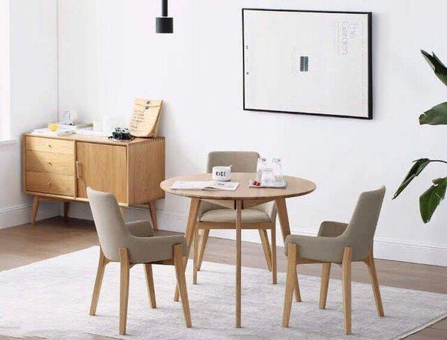 受注製品 北欧家具 シンプル 一人暮らし用ダイニングテーブル デスク 作業台 職人手作り パイン無垢集成材 天然木 木目の画像1枚目