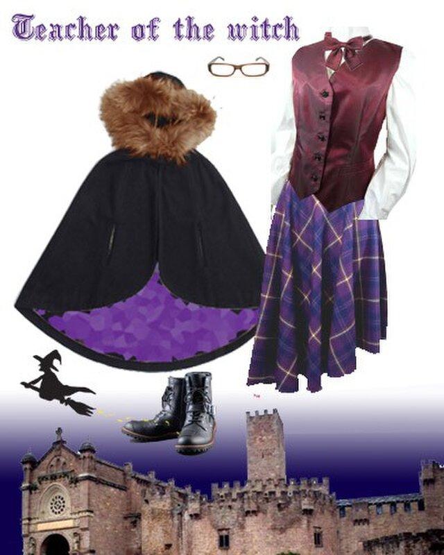 タータンチェック・サーキュラースカート紫の画像1枚目