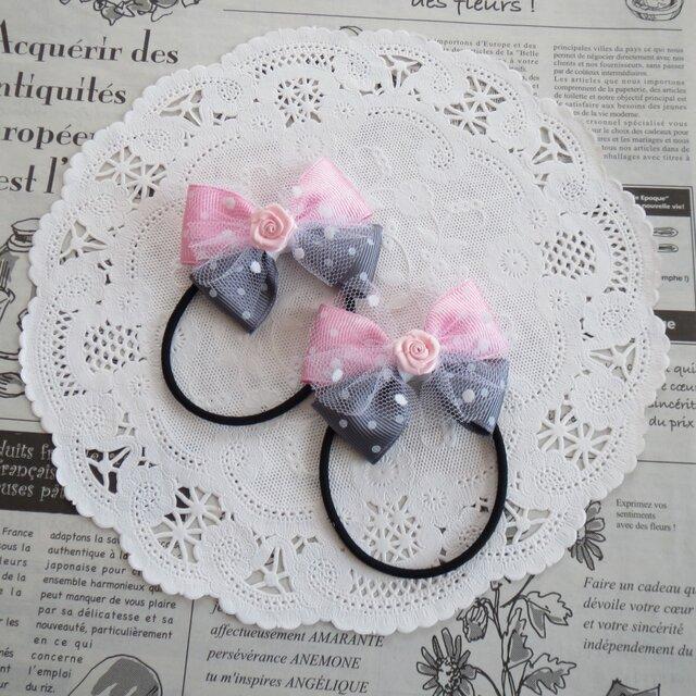 ★りぼん★ バラとピンクとグレーの水玉のダブルリボンのヘアゴムの画像1枚目