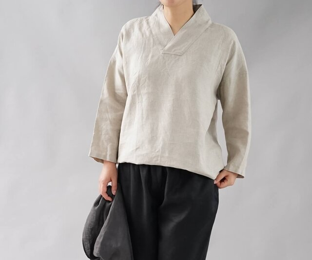 【wafu】中厚 リネントップス 禅 着物襟 ドルマンスリーブ リネン ブラウス/亜麻ナチュラル t010a-amn2の画像1枚目