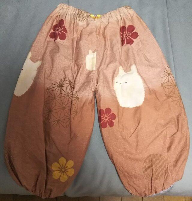 3歳秋冬女の子うさぎもんぺロングバルーンパンツの画像1枚目
