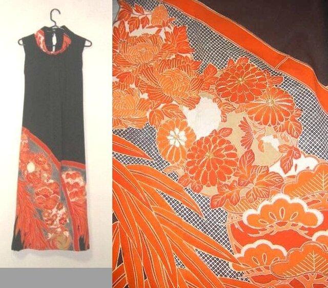 留袖リメイク♪花の刺繍が豪華な留袖ハイネックワンピース♪ハンドメイド・正絹・花柄・刺繍ボレロ付きの画像1枚目