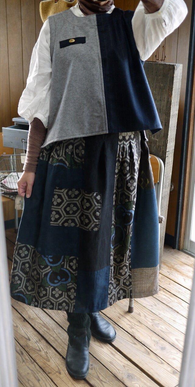 正絹パッチワークギャザースカートの画像1枚目