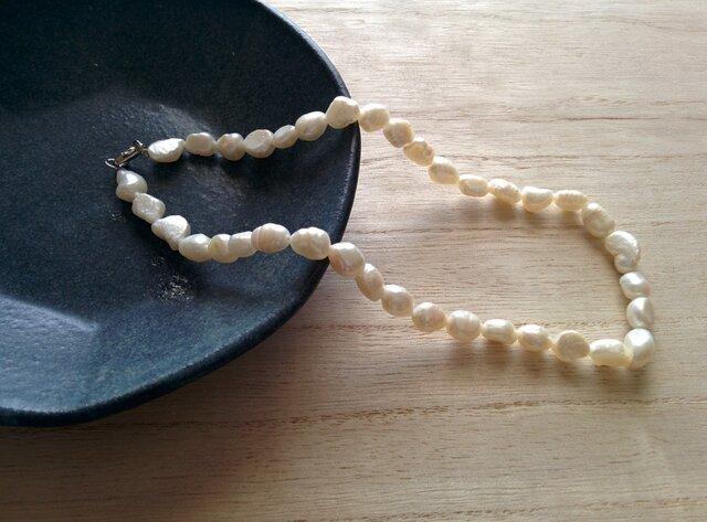 【yuuki様ご予約品】※他の方のご購入できません。40cm✳淡水しんじゅ(8mm)のネックレスの画像1枚目