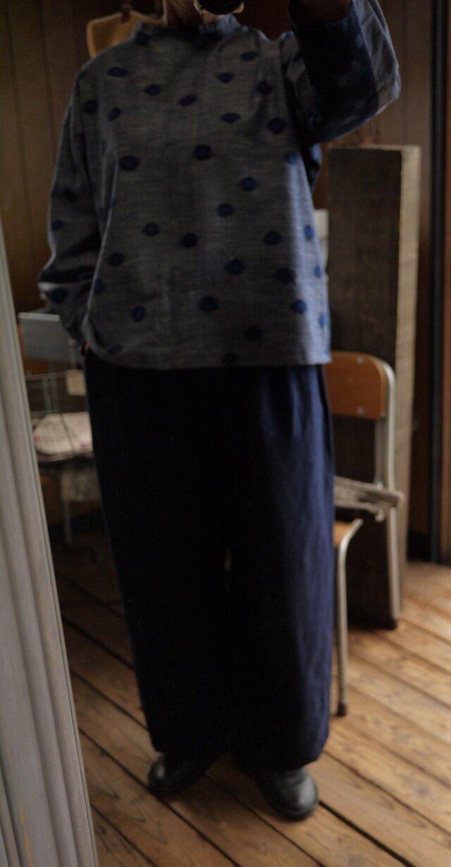 久留米絣濃紺パンツの画像1枚目