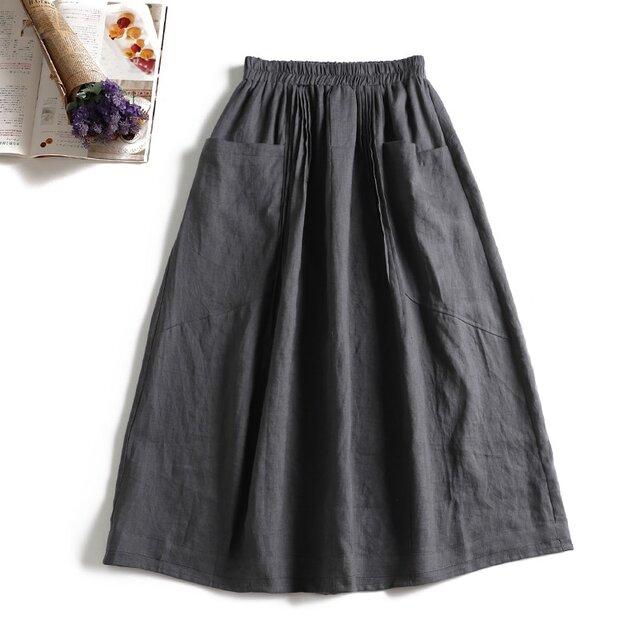 806-2大人め天然麻のロングスカート ポケットつき ダークグレーの画像1枚目