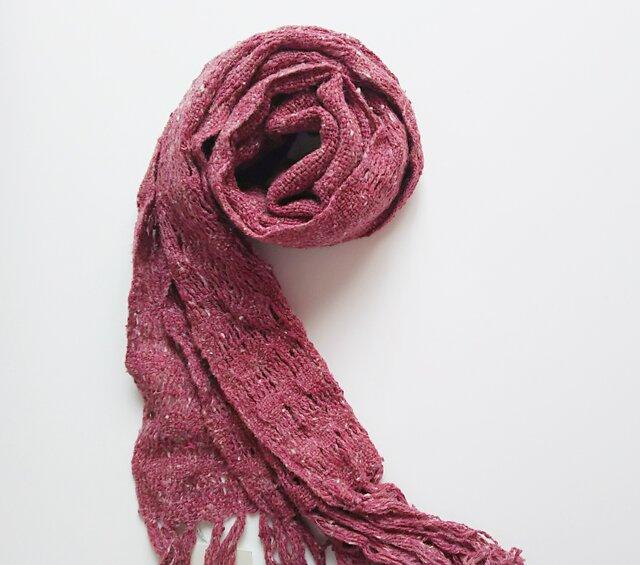 手織り*シルクミニマフラー*赤の画像1枚目