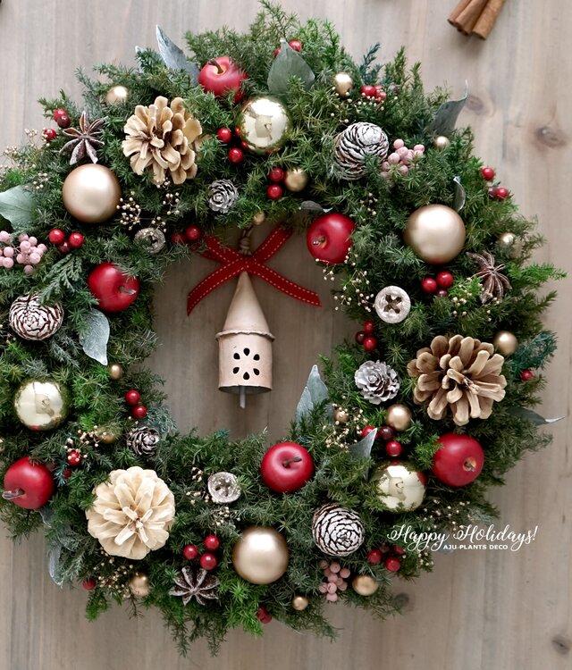 クリスマスリース(0518)~Happy holidays!~ 36cmの画像1枚目