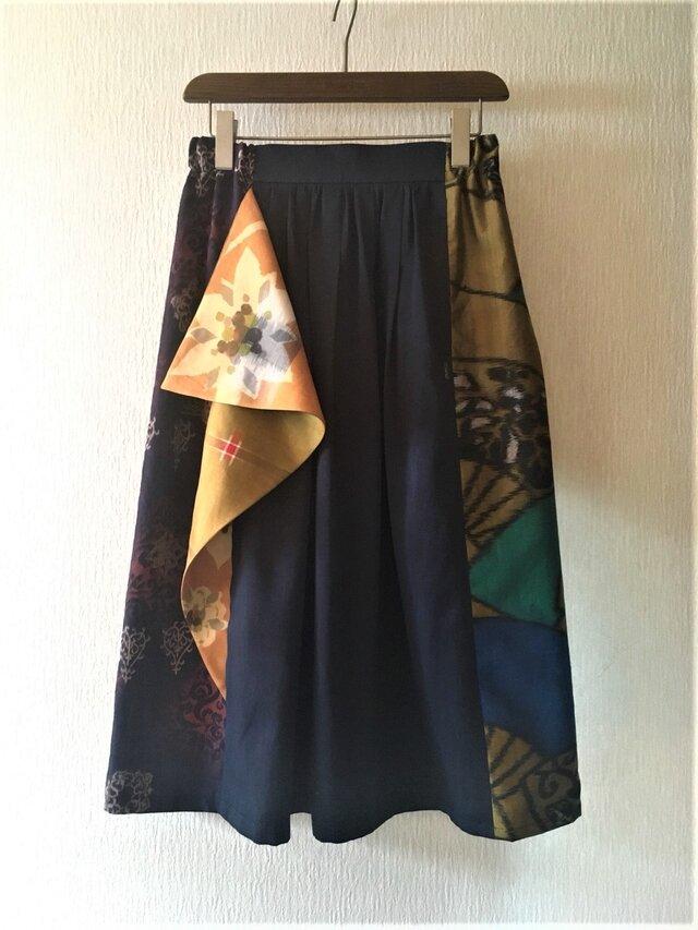 銘仙のフリルスカート826*ネイビー*綿サテン レーヨン 古布 ギャザースカートの画像1枚目