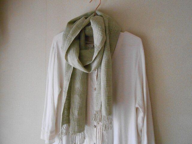 草木染(ヨモギ)グリーン 手紡ぎ手織り シルク100%マフラーの画像1枚目