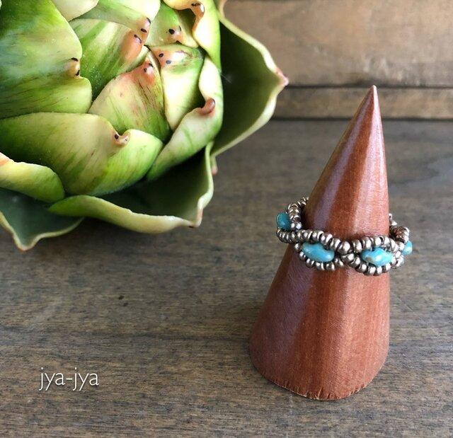 【受注製作】twin beads ring - turquoise silverの画像1枚目