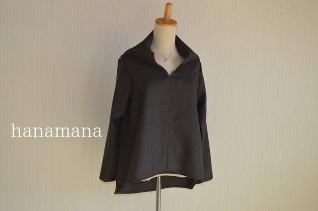 チョコ色ウール 変わり襟ヘムラインブラウス 選べるサイズ2タイプ はなまなの画像1枚目