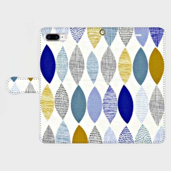 北欧デザイン ボタニカルリーフ ②  iphone 6plus/7plus/8plus 専用 手帳型ケース 抽象画の画像1枚目