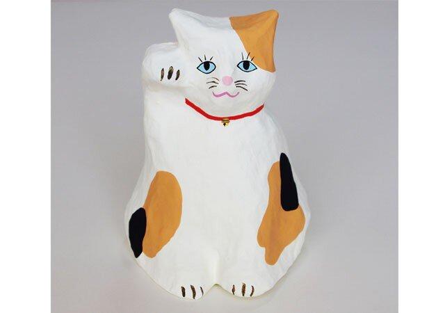 張り子 招き猫 三毛猫3 置物の画像1枚目