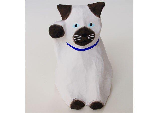 ■張り子 招き猫 シャム猫2 置物の画像1枚目