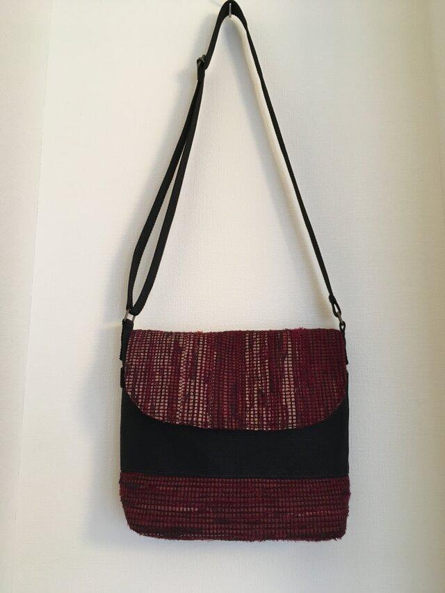 メッセンジャ-バッグ(中)ワインレッドの裂き織りの画像1枚目