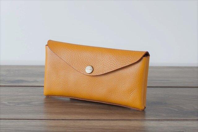 イタリア製牛革のコンパクトな長財布3  /   イエロー※受注製作の画像1枚目