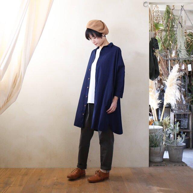 【受注制作】藍染 コットンロングシャツ 濃紺 ユニセックスsizeFの画像1枚目