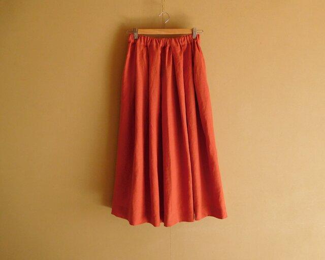 A様ご予約品 リネンのスカート オレンジレッドの画像1枚目