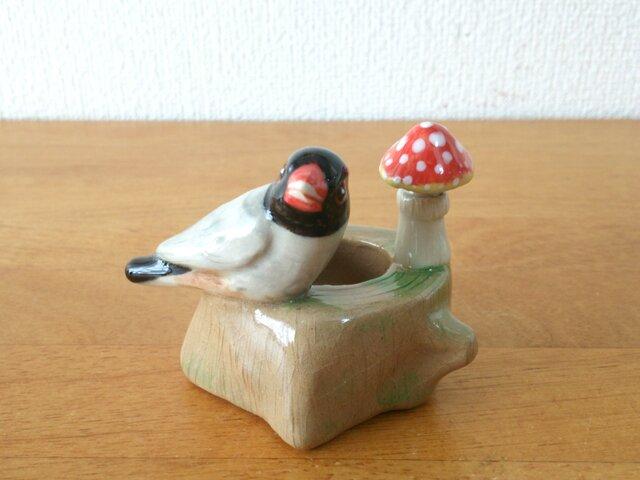 【sale】印鑑スタンド ホウグロ文鳥(陶器)の画像1枚目