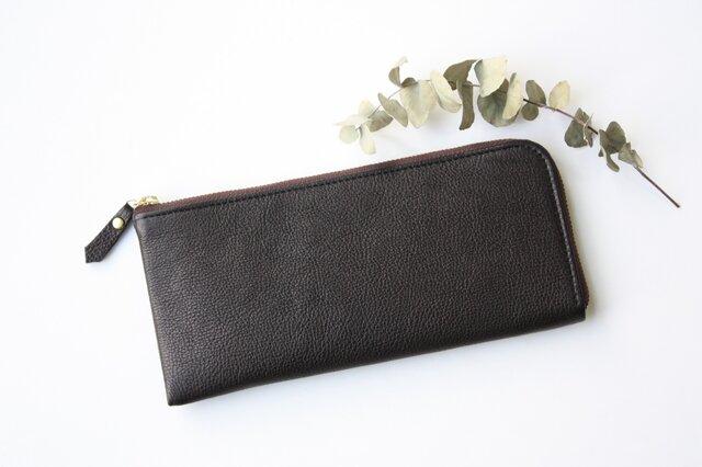 【数量限定】牛革のスリムな長財布L字型 ブラックの画像1枚目