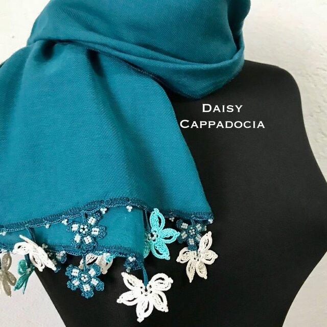 トゥーオヤ お花の刺繍コットンストール(綿100%)アクアブルーCの画像1枚目
