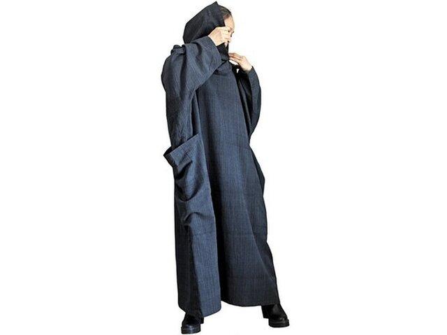 ジョムトン手織り綿オフタートルルーズドレス 墨黒 (DFS-058-01)の画像1枚目