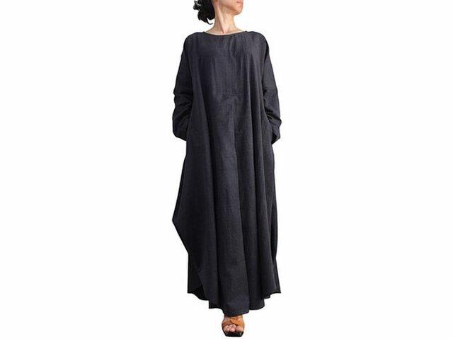 ジョムトン手織り綿のロングドレス No.3 墨黒 (DFS-055-01)の画像1枚目