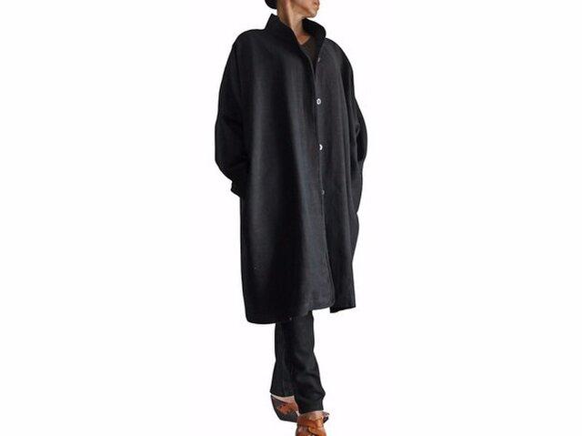 ジョムトン手織り綿ゆったりチャイナカラーコート 黒(JFS-103-01)の画像1枚目